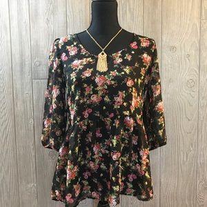 Nine bird floral floral blouse shirt with keyhole
